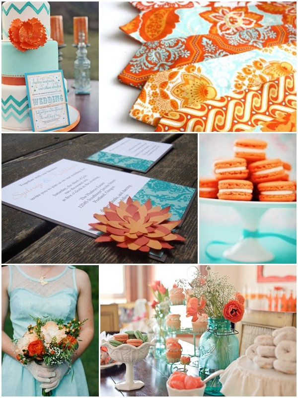 Weddings by Color - Shades of Aqua + Orange
