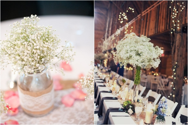 16 unique centerpiece ideas for your reception tables wedding simple babys breath centerpieces with burlap and lace tall babys breath centerpieces junglespirit Choice Image