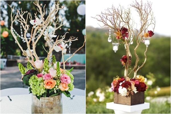 16 unique centerpiece ideas for your reception tables wedding rustic chic manzanita decor manzanita decor with hanging candles junglespirit Choice Image