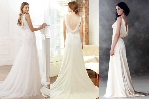 Stunning cowl back wedding dress ideas styles ideas for Cowl back wedding dress