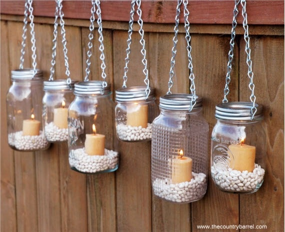 hanging mason jar decor - Diy Beach Decor