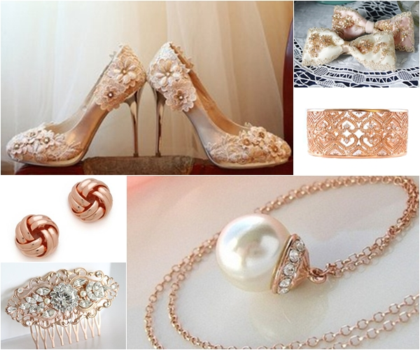 L-R Top to Bottom: 4 inch Round Toe Heels adorned by Hand with Lace Flowers, Glittering Bow Clip, Filigree Heart Bangle Cuff Bracelet, Juliet & Company Forget Me Knots Stud Earrings, Vintage Filigree Comb, Necklace with a Pearl Pendant