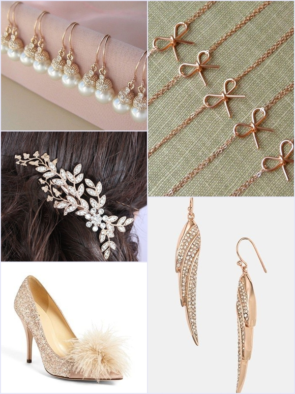 Weddings Philippines - Rose Gold Wedding Bling - Bridesmaid Accessories & Jewelry