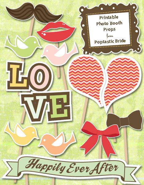 My Top 15 Free Wedding Printables - Photobooth Props
