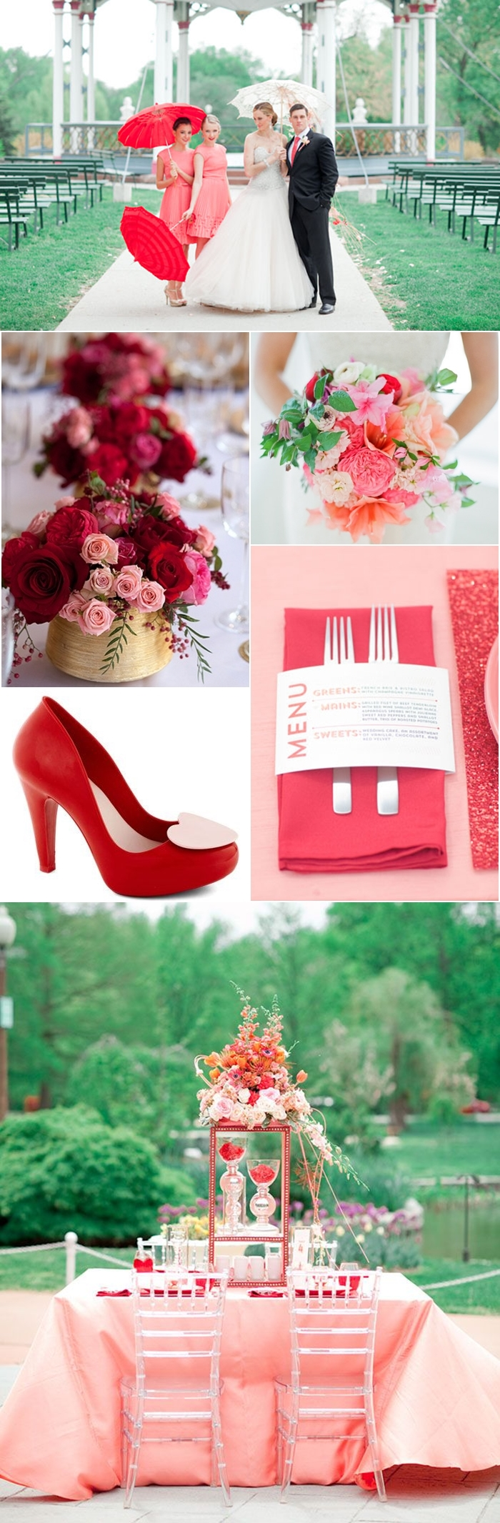 Couple with the Bridal Party / Flower Table Centerpiece / Bouquet / Place Card Menu / Shoe of Hearts Heel in Red / Reception Table Decor and Centerpiece
