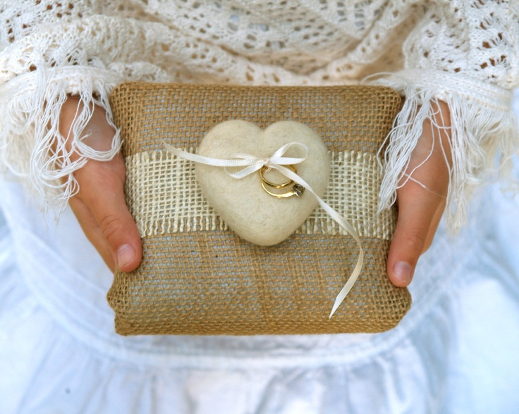 Burlap Heart Ring Pillow | by Fairyfolk Weddings  via Etsy
