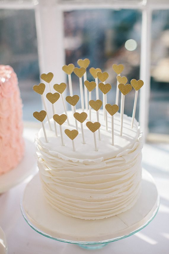 Heart Cake Toppers| Photo by Love, Sylvia Photography  via 100 Layer Cake