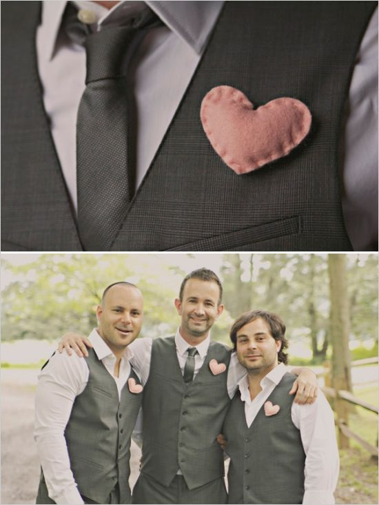 Pink Heart Boutonnieres | Photo by Paper Heart Photography  via Wedding Chicks