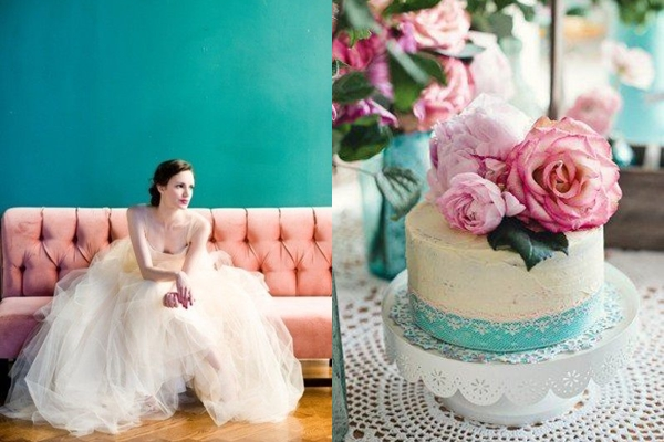 0bc21c9a2f782 ... Pink + Teal. categories: Weddings by Color. Bride | Wedding Cake