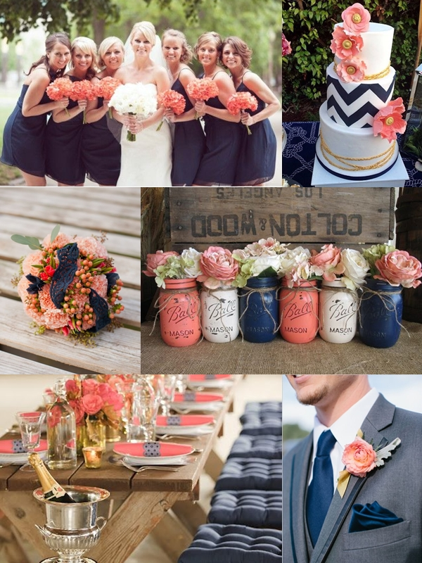 Navy And Coral Wedding.Weddings By Color Shades Of Navy Blue Coral Wedding