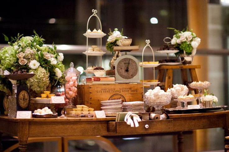 Wooden Candy Table ~ Rustic wedding dessert table ideas