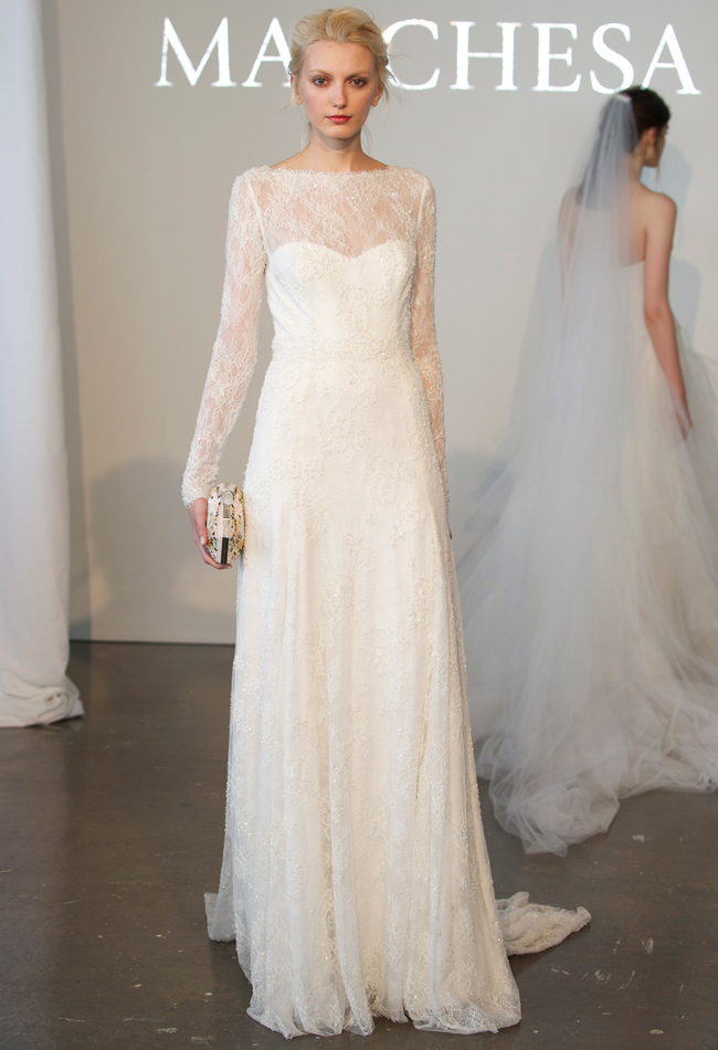 Long sleeve fully re-embroidered Chantilly lace A-line wedding dress with an illusion high neckline,