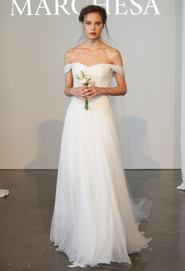 Grecian-inspired off-the-shoulder silk chiffon A-line wedding dress with a sweetheart neckline and lace details