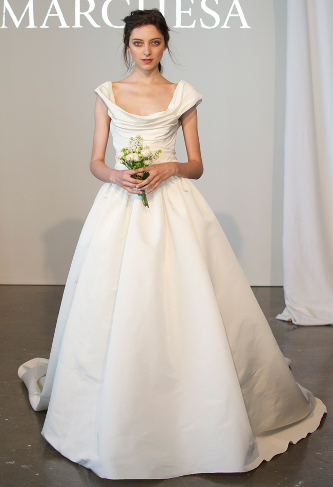 Off-the-shoulder silk faille ball gown wedding dress with a scoop neckline and cap sleeves