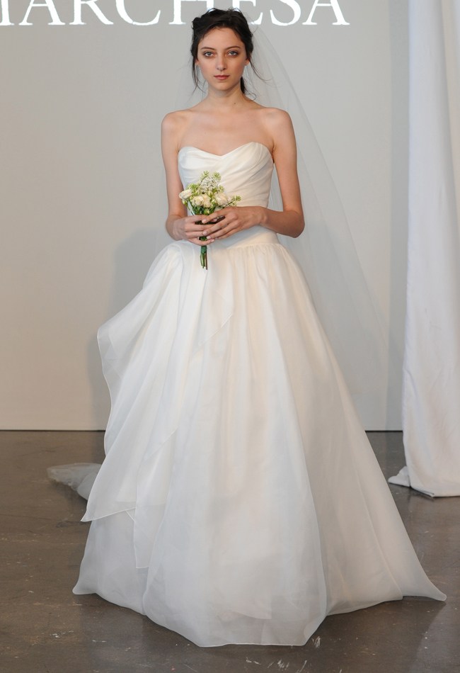 strapless sweetheart silk gauze bridal ball gown with draped bodice paired with embellished tulle veil