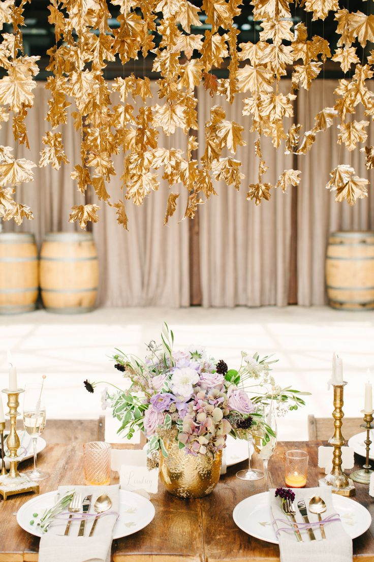Wedding Philippines - Wedding Trends - Metallic Painted Gold Silver Plant Flower Fruit 02- Golden Leaves