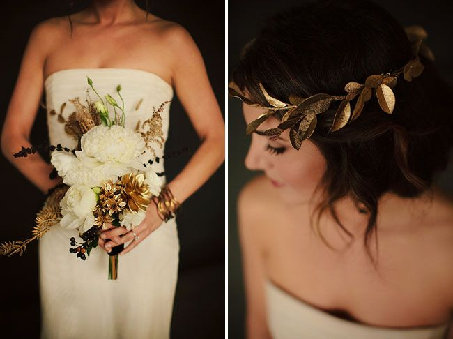 Wedding Philippines - Wedding Trends - Metallic Painted Gold Silver Plant Flower Fruit 03- Golden Leaves