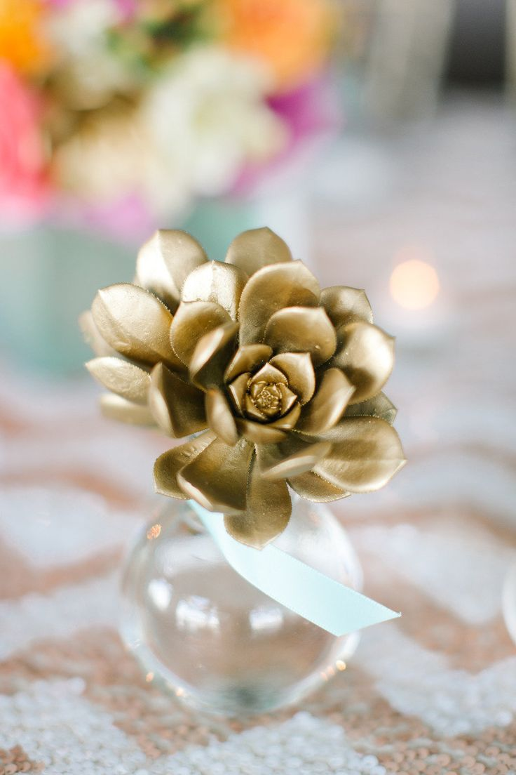Wedding Philippines - Wedding Trends - Metallic Painted Gold Silver Plant Flower Fruit 04- Golden Leaves