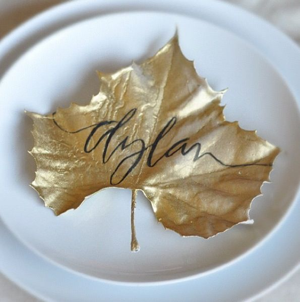 Wedding Philippines - Wedding Trends - Metallic Painted Gold Silver Plant Flower Fruit 05- Golden Leaves