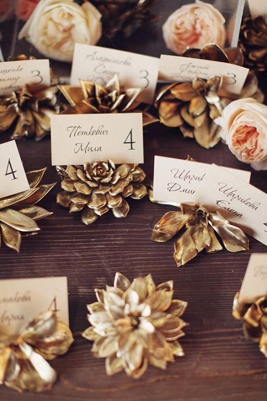 Wedding Philippines - Wedding Trends - Metallic Painted Gold Silver Plant Flower Fruit 10- Golden Leaves