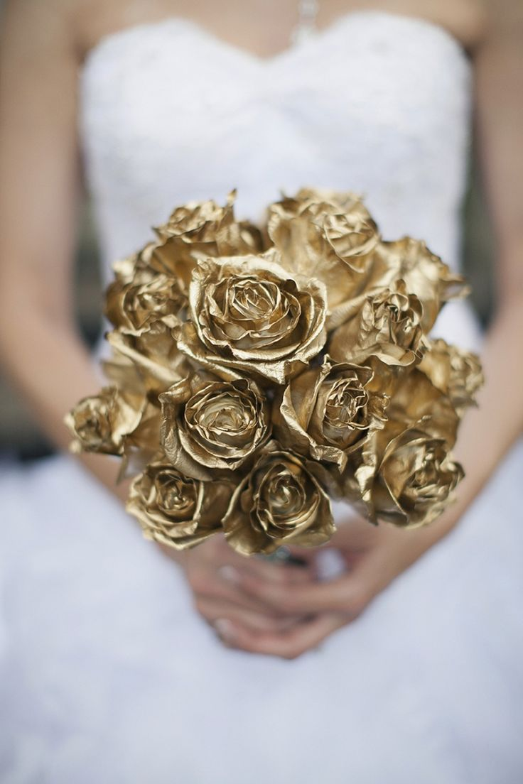 Wedding Philippines - Wedding Trends - Metallic Painted Gold Silver Plant Flower Fruit - Golden Roses