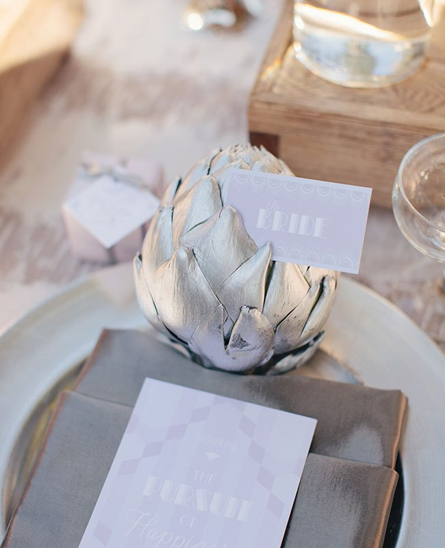 Wedding Philippines - Wedding Trends - Metallic Painted Gold Silver Plant Flower Fruit - Silver Place Setting