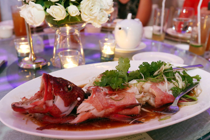 Steamed lived Pink Garoupa fish