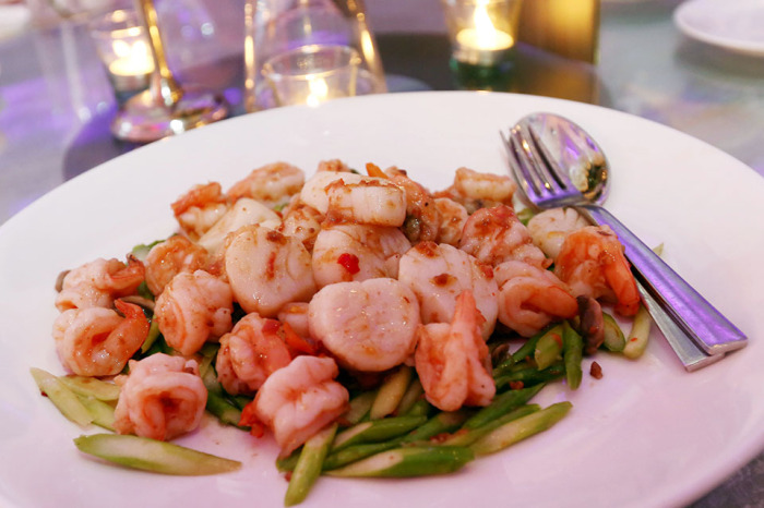 Sauteed Asparagus with Shrimps and Scallops in X.O. Sauce