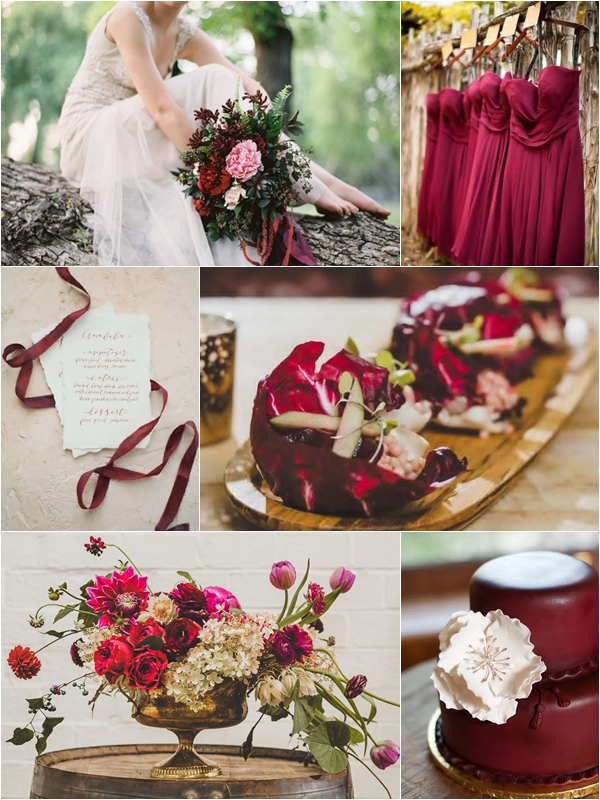 Weddings By Color Shades Of Cranberry Brown Gold Wedding