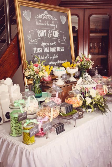 30 sweet and stunning candy bar ideas for your wedding for Wedding bar ideas