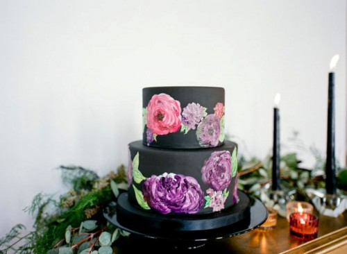 Wedding Philippines - 38 Bold and Chic Black Wedding Cakes (16)