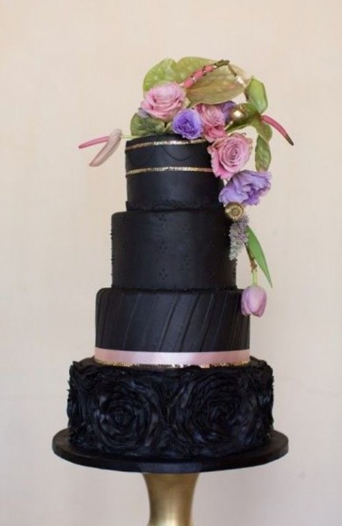 Wedding Philippines - 38 Bold and Chic Black Wedding Cakes (30)