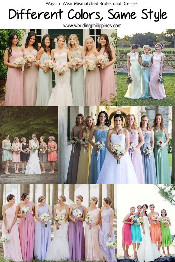 02 Wedding Philippines - Top 6 Ways to Wear Bridesmaid Dresses - Different  Colors, Same Style