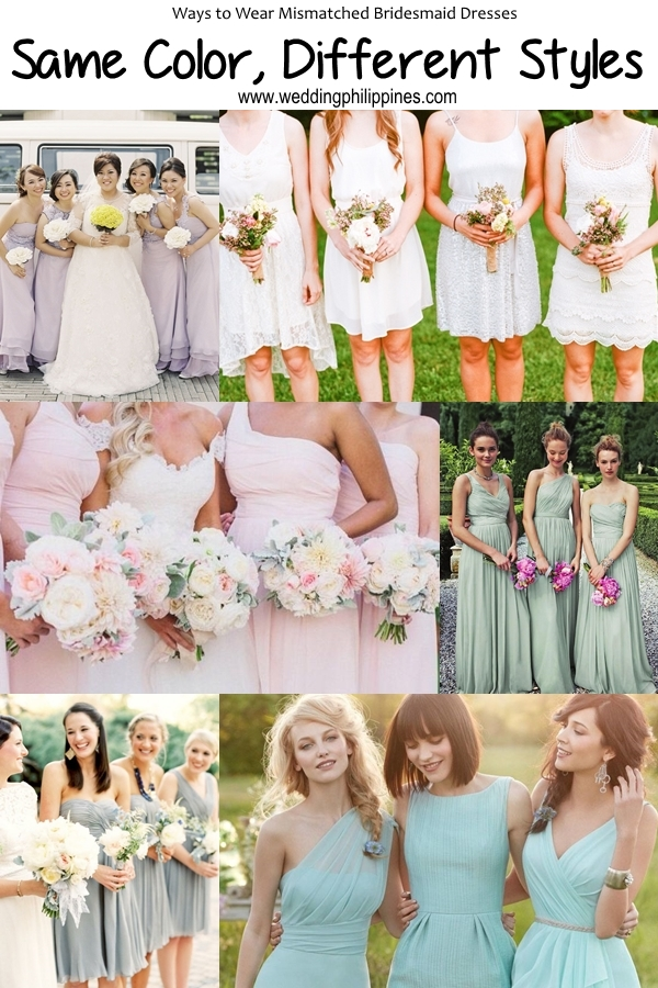 05 Wedding Philippines - Top 6 Ways to Wear Mismatched Bridesmaid Dresses - Same Colors, Different Styles
