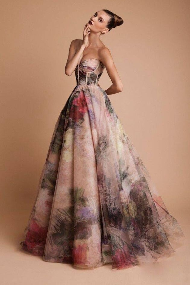 Wedding_Philippines_Beautiful_Floral_Inspired_Wedding_Dresses_Rani-Zakhem-Watercolor-Corset-Floral-Printed-Bridal-Gown