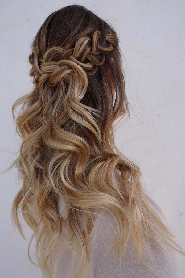 38 gorgeous half up half down wedding hairstyles wedding boho chic half up half down junglespirit Image collections
